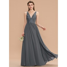 A-Line V-neck Floor-Length Chiffon Lace Bridesmaid Dress (007165831)