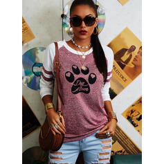 Animal Print Round Neck Long Sleeves Casual T-shirt (1003254414)
