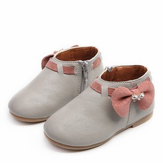 Girl's Closed Toe Ankle Boots Leatherette Flat Heel Flats Boots Flower Girl Shoes