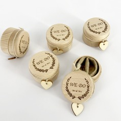 "Elegant/Chic/""We Do"" Wood Ring Box"