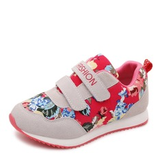 Girl's Closed Toe Suede Fabric Flat Heel Flats Sneakers & Athletic With Velcro Flower