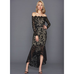 Trompet/Havfrue Off-the-Shoulder Asymmetrisk Blonder Cocktailkjole