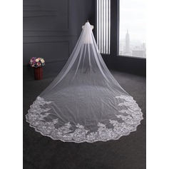One-tier Lace Applique Edge Cathedral Bridal Veils With Lace (006114052)