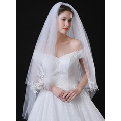 Two-tier Lace Applique Edge Fingertip Bridal Veils With Applique/Lace (006118507)