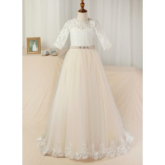 Ball Gown Court Train Flower Girl Dress - Satin/Tulle/Lace 3/4 Sleeves Scoop Neck With Sash/Beading