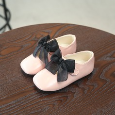 Girl's Leatherette Flat Heel Mary Jane Flats With Bowknot