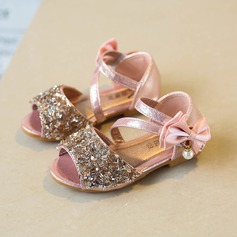 Girl's Sparkling Glitter Flat Heel Peep Toe Flats With Bowknot Imitation Pearl Sparkling Glitter