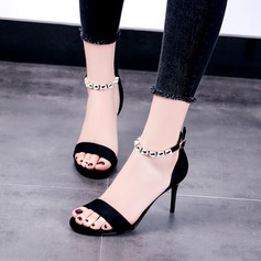 Women's Suede Stiletto Heel Peep Toe Pumps Sandals With Buckle Rhinestone Chain