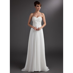 Empire Sweetheart Sweep Train Chiffon Bridesmaid Dress With Beading Appliques Lace Sequins