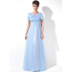 Empire V-neck Floor-Length Chiffon Satin Maternity Bridesmaid Dress With Beading