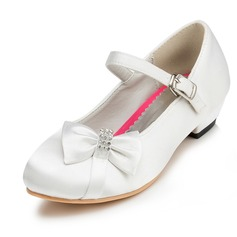 Girl's Closed Toe Satin Low Heel Flower Girl Shoes With Bowknot Rhinestone (207095487)
