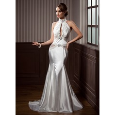 Trumpet/Mermaid High Neck Court Train Charmeuse Prom Dresses With Ruffle Beading