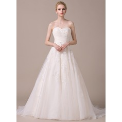 A-Line/Princess Sweetheart Court Train Organza Wedding Dress With Ruffle Beading Appliques Lace Sequins Bow(s) (002058768)