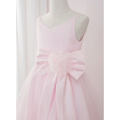 A-Line Ankle-length Flower Girl Dress - Satin/Tulle Sleeveless V-neck With Flower(s)/Bow(s)/Pleated