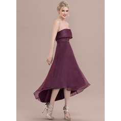 Forme Princesse Sans bretelle Asymétrique Organza Robe de cocktail