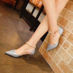 Women's Leatherette Stiletto Heel Sandals Closed Toe With Imitation Pearl shoes