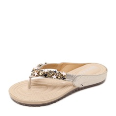 Women's PU Flat Heel Flats Peep Toe Slingbacks Flip-Flops With Rhinestone shoes