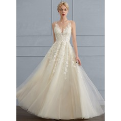 A-Line V-neck Floor-Length Tulle Wedding Dress With Beading Sequins (002117032)