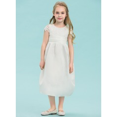 Empire Tea-length Flower Girl Dress - Satin/Lace Sleeveless Scoop Neck