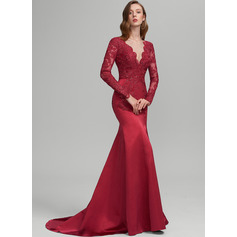 Trumpet/Mermaid V-neck Sweep Train Satin Prom Dresses With Sequins (018224397)