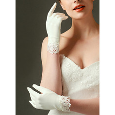 Satin Wrist Length Bridal Gloves With Embroidery