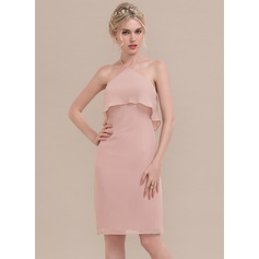 Sheath/Column Cowl Neck Knee-Length Chiffon Homecoming Dress