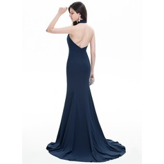 Trumpet/Mermaid Halter Sweep Train Jersey Evening Dress