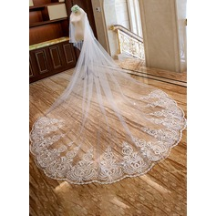 Two-tier Lace Applique Edge Cathedral Bridal Veils With Lace (006163736)