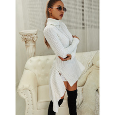 Solid Cable-knit Long Sleeves Casual Long Sweater Dress Dresses (294255861)