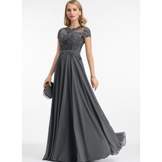 A-Line Scoop Neck Floor-Length Chiffon Evening Dress With Sequins (017198649)