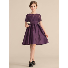 A-Line Scoop Neck Knee-Length Satin Lace Junior Bridesmaid Dress With Ruffle