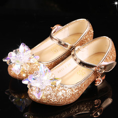 Girl's Round Toe Closed Toe Leatherette Low Heel Flats With Buckle Sparkling Glitter Crystal (207218180)