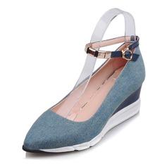 Femmes Cuir en microfibre Talon compensé Compensée avec Boucle chaussures