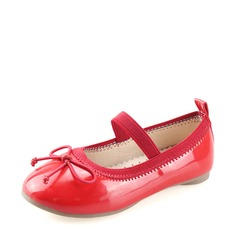 Girl's Leatherette Flat Heel Round Toe Flats With Bowknot