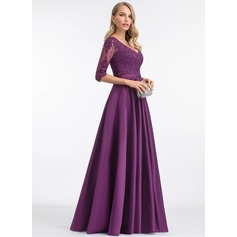 A-Line V-neck Floor-Length Satin Evening Dress With Sequins (017198657)