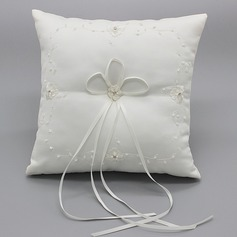 Simple Ring Pillow in Cloth With Bow/Flowers