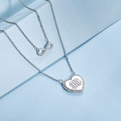 Personalized Ladies' Eternal Love With Round Cubic Zirconia Monogram Necklaces Necklaces For Bride/For Couple