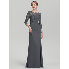 Sheath/Column Scoop Neck Floor-Length Chiffon Lace Mother of the Bride Dress With Ruffle (008114260)