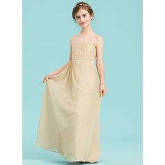 A-Line Sweetheart Floor-Length Chiffon Junior Bridesmaid Dress With Sequins