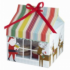 Santa Claus Cupcake Boxes With Ribbons (Set of 12)