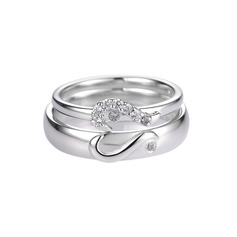 Sterling Silver Cubic Zirconia Heart Round Cut Couple's Rings - Valentines Gifts (289229785)
