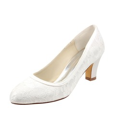 Women's Silk Like Satin Chunky Heel Pumps With Split Joint (047128167)