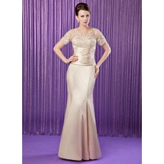 Trumpet/Mermaid V-neck Floor-Length Charmeuse Mother of the Bride Dress With Ruffle Beading Appliques Lace Sequins