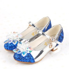 Girl's Leatherette Flat Heel Closed Toe Sandals With Buckle Rhinestone Sparkling Glitter