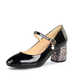 Women's Patent Leather Wedge Heel Pumps Mary Jane With Imitation Pearl Jewelry Heel shoes