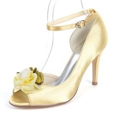 Women's Silk Like Satin Stiletto Heel Peep Toe Pumps With Satin Flower