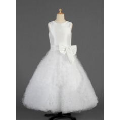 A-Line/Princess Floor-length Flower Girl Dress - Taffeta/Tulle Sleeveless Scoop Neck With Ruffles/Bow(s)
