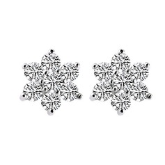 Snowflakes Shaped Sterling Silver With Crystal Women's Earrings