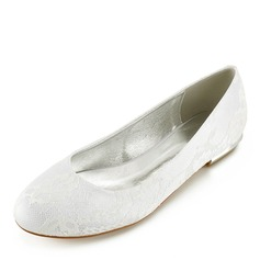 Women's Lace Leatherette Flat Heel Closed Toe Flats (047166033)