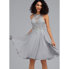 A-Line Scoop Neck Knee-Length Chiffon Cocktail Dress With Sequins (016216031)